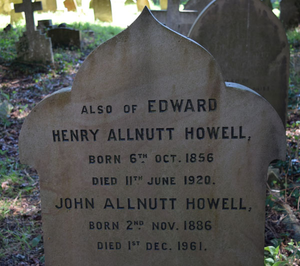 Reverse of Howell headstone