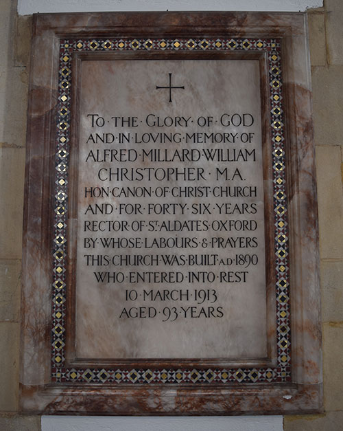 Plaque to Canon Christopher in St Matthew's Church